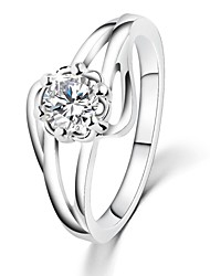 cheap -White Gold Plated Flower Wedding Rings AAA Zircon Vintage Engagement Rings For Women CZ Diamond Jewelry Bague GiftsImitation Diamond Birthstone