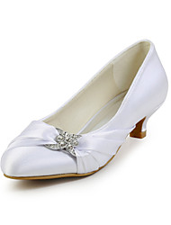 cheap -Women's Wedding Shoes Kitten Heel Round Toe Classic Wedding Dress Party & Evening Walking Shoes Silk Crystal Solid Colored Summer White Black Red / EU41