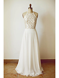 cheap -A-Line Halter Neck Floor Length Chiffon Spaghetti Strap Sexy See-Through / Illusion Detail / Backless Wedding Dresses with Lace 2020