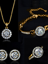 cheap -Women's Synthetic Diamond Moissanite Jewelry Set Necklace Earrings Solitaire Round Cut Halo Ladies Elegant Crystal Cubic Zirconia Earrings Jewelry Silver / Golden For Wedding Party Birthday / Ring