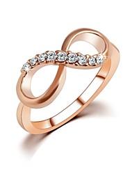 abordables -Femme Bague / Anneaux Zircon petit diamant Doré Zircon Plaqué or Plaqué Or Rose dames simple Designer Mariage Soirée Bijoux Double Infini