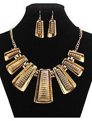 cheap -Jewelry Set Geometrical Statement Ladies Vintage Party Work Casual Earrings Jewelry Gold For 1 set / Necklace
