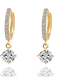 cheap -Women's Diamond Cubic Zirconia tiny diamond Drop Earrings Chandelier Solitaire Ladies Fashion Cubic Zirconia Silver Plated Earrings Jewelry Gold / Silver For Daily