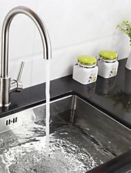 Недорогие -кухонный смеситель - Одной ручкой одно отверстие Нержавеющая сталь Высокий / High Arc Настольная установка Современный Kitchen Taps