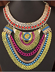 cheap -Women's Statement Necklace Layered Necklace Layered Statement Ladies European Fashion Resin Plastic Alloy Dark Red Necklace Jewelry For Special Occasion Birthday Gift