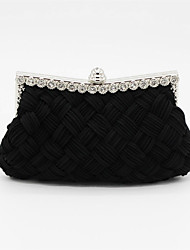 cheap -Women's Crystals Satin Clutch / Evening Bag / Cosmetic Bag Solid Colored Black / Almond / White / Fall & Winter