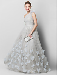 cheap -A-Line Floral Grey Quinceanera Prom Dress One Shoulder Sleeveless Court Train Tulle with Ruched Appliques 2020