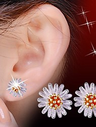 cheap -Women's Cubic Zirconia Stud Earrings Flower Sterling Silver Zircon Silver Earrings Jewelry Silver / Yellow For Wedding Party Daily Casual Sports