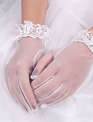 cheap -Elastic Satin / Cotton / Silk Wrist Length Glove Charm / Stylish / Bridal Gloves With Embroidery / Solid