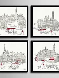 cheap -Framed Canvas Framed Set - Architecture PVC Illustration Wall Art