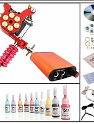 cheap -BaseKey Tattoo Machine Starter Kit - 1 pcs Tattoo Machines with 10 x 5 ml tattoo inks, Professional Mini power supply 1 alloy machine liner & shader