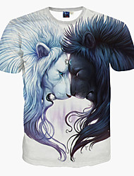 cheap -Men's Daily T-shirt Animal Print Short Sleeve Slim Tops White / Sports