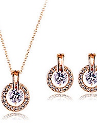 cheap -Diamond Cubic Zirconia tiny diamond Jewelry Set Stud Earrings Pendant Necklace Round Cut Ladies Party Work Zircon Cubic Zirconia Rose Gold Plated Earrings Jewelry Rose Gold For 1 set
