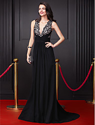 cheap -A-Line Celebrity Style Prom Formal Evening Dress Plunging Neck Sleeveless Court Train Georgette with Criss Cross Sequin 2020