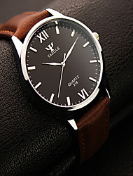 cheap -Men's Wrist Watch Leather Black / Brown Casual Watch Analog Ladies Charm - Black / White Black Brown / White One Year Battery Life / Stainless Steel