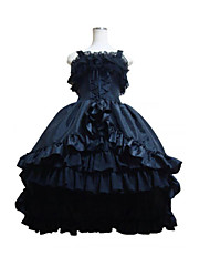 cheap -Gothic Lolita Vacation Dress Dress Women's Girls' Satin Japanese Cosplay Costumes Black Patchwork Sleeveless Medium Length / Gothic Lolita Dress