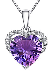 cheap -Women's Crystal Amethyst Pendant Necklace Simulated Heart Love Ladies Fashion Sterling Silver Zircon Rhinestone Purple Necklace Jewelry For Party Daily Casual