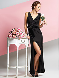 cheap -Sheath / Column Furcal Prom Formal Evening Dress V Neck Sleeveless Ankle Length Chiffon Velvet Jersey with Side Draping 2020