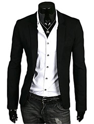 cheap -Men's Work Regular Blazer, Solid Colored Long Sleeve Polyester Navy Blue / Green / Light Blue / Business Casual / Slim