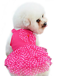 cheap -Dog Dress Dog Clothes Yellow Red Blue Costume Baby Small Dog Cotton Polka Dot Bowknot Fashion XS S M L XL XXL