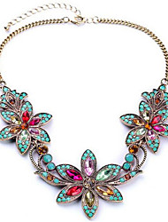 cheap -Women's Synthetic Diamond Pendant Necklace Bib Flower European Colorful Festival / Holiday Color Rhinestone Alloy Screen Color Necklace Jewelry For Party Special Occasion Birthday Gift