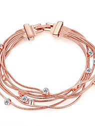 cheap -Women's Chain Bracelet Ladies Fashion Rose Gold Bracelet Jewelry Gold For Wedding Party Daily Masquerade Engagement Party Prom / Rose Gold Plated / Imitation Diamond / Rhinestone / Rose Gold Plated