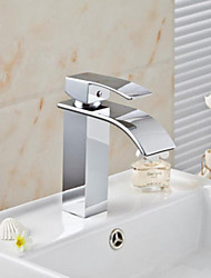 cheap -Bathroom Sink Faucet - Waterfall Chrome Deck Mounted Single Handle One HoleBath Taps