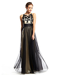 cheap -A-Line Color Block Prom Formal Evening Dress Scoop Neck Sleeveless Floor Length Tulle with Appliques 2020