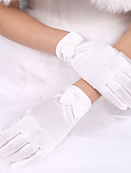 cheap -Elastic Satin / Polyester Wrist Length Glove Classical / Bridal Gloves With Solid