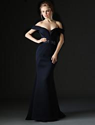 cheap -Mermaid / Trumpet Formal Evening Dress Off Shoulder Sleeveless Sweep / Brush Train Polyester with Sash / Ribbon Beading 2020