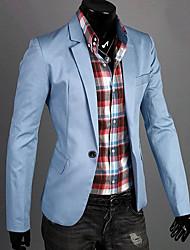 cheap -Men's Daily / Work Spring / Fall Regular Blazer, Solid Colored Notch Lapel Long Sleeve Cotton Dark Blue / Green / Blue / Slim