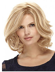 cheap -Synthetic Wig Wavy Wavy Bob Wig Blonde Short Medium Length Blonde Synthetic Hair Women's Blonde