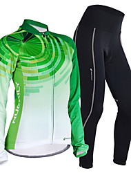 cheap -Nuckily Women's Long Sleeve Cycling Jersey with Tights Green Gradient Bike Jersey Clothing Suit Windproof Breathable Quick Dry Anatomic Design Reflective Strips Sports Polyester Lycra Gradient