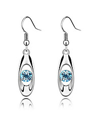 cheap -Women's Crystal Drop Earrings Hoop Earrings Round Cut Drop Ladies Basic Fashion Bridal Rhinestone Earrings Jewelry Purple / Rose / Blue For Wedding Party Gift Daily Casual Masquerade