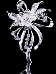 cheap -Women's Brooches Flower Party Work Casual Fashion Cubic Zirconia Brooch Jewelry Silver For Party Wedding Special Occasion Anniversary Birthday Gift