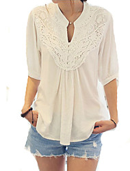 cheap -Women's Daily Weekend Loose Blouse - Patchwork Lace V Neck Black / Spring