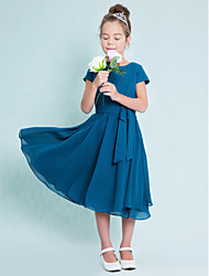 cheap -A-Line Jewel Neck Tea Length Chiffon Junior Bridesmaid Dress with Buttons / Natural