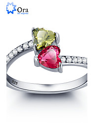 cheap -Women's Band Ring Cubic Zirconia Sterling Silver Zircon Silver Wedding Party Jewelry Heart Love