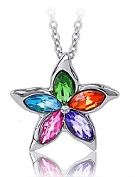 cheap -Women's Crystal Pendant Necklace Ladies Fashion Crystal Alloy Rainbow Purple Blue Green Rose Necklace Jewelry For Wedding Party Daily Casual