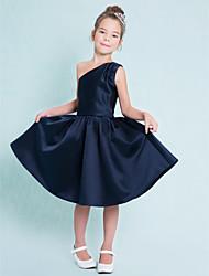 cheap -A-Line One Shoulder Knee Length Satin Junior Bridesmaid Dress with Sash / Ribbon / Pleats / Natural