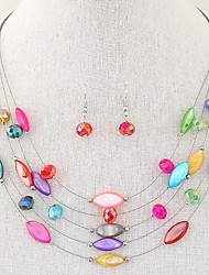 cheap -Women's Crystal Jewelry Set Layered Floating Ladies Bohemian Fashion Boho Multi Layer Resin Shell Earrings Jewelry Green / Blue / Rainbow For Party Daily Casual / Necklace