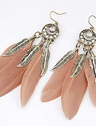 cheap -Women's Drop Earrings Leaf Feather Personalized European Fashion Native American Feather Earrings Jewelry For Party Daily Casual