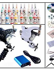 cheap -BaseKey Tattoo Machine Starter Kit, 1 pcs Tattoo Machines with 28 x 5 ml tattoo inks - 1 steel machine liner & shader, 1 alloy machine