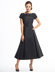cheap -A-Line Boat Neck Tea Length Taffeta Little Black Dress / Elegant / Minimalist Cocktail Party / Homecoming Dress with Buttons 2020