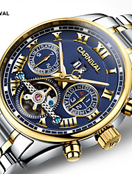 cheap -Carnival Men's Skeleton Watch Aviation Watch Automatic self-winding Oversized Stainless Steel White / Gold 30 m Creative Noctilucent Tourbillon Analog Luxury Classic Casual - Black Golden Gold / White
