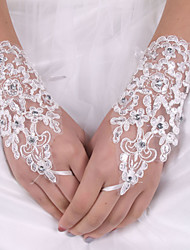 cheap -Elastic Satin / Silk Wrist Length Glove Bridal Gloves With Bowknot