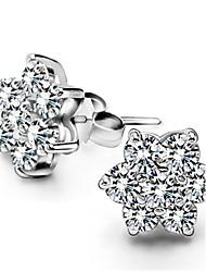 cheap -Women's Diamond Cubic Zirconia tiny diamond Stud Earrings Star Ladies Birthstones Sterling Silver Zircon Silver Earrings Jewelry For Wedding Party Daily Casual Sports