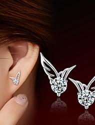 cheap -Women's Diamond Cubic Zirconia Stud Earrings Ladies Sterling Silver Zircon Silver Earrings Jewelry Silver For Wedding Party Daily Casual Sports
