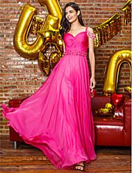 cheap -Sheath / Column Elegant Prom Formal Evening Dress Straps Sleeveless Sweep / Brush Train Chiffon with Beading Side Draping 2021