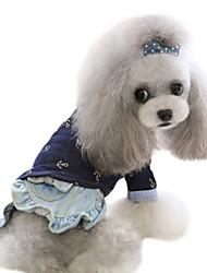 cheap -Dog Shirt / T-Shirt Shirt Dog Clothes Jeans Blue Cotton Costume For Spring &  Fall Men's Women's Fashion